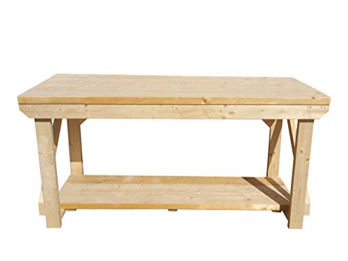 Wooden Workbench Made From Construction Grade C24 2x6 Timber - Super Heavy Duty Construction Grade Workbench - Work Table, Garage Table (5ft) from Arbor Garden Solutions