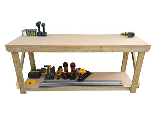 Wooden MDF Workbench - Work Table Handmade Strong Heavy Duty - Made From Construction Grade Timber (7ft) from Arbor Garden Solutions