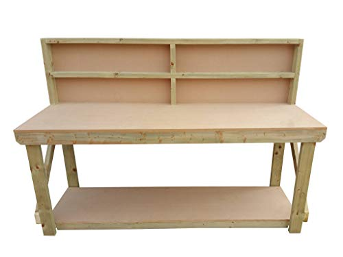 Wooden MDF Workbench With Back - Work Table Handmade Strong Heavy Duty - Made From Construction Grade Timber (5ft) from Arbor Garden Solutions