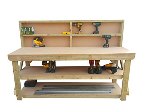 Wooden MDF Workbench With Back and Double Shelf - Work Table Handmade Strong Heavy Duty - Made From Construction Grade Timber (8ft) from Arbor Garden Solutions