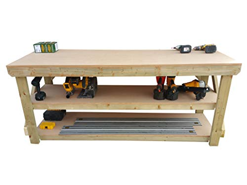 Wooden MDF Workbench With Double Shelf - Work Table Handmade Strong Heavy Duty - Made From Construction Grade Timber (7ft) from Arbor Garden Solutions