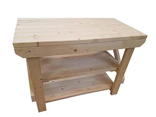 ACORN Wooden Workbench With Double Shelf - Handmade Heavy Duty Work Table - Made From Construction Grade Timber (6ft) from Arbor Garden Solutions