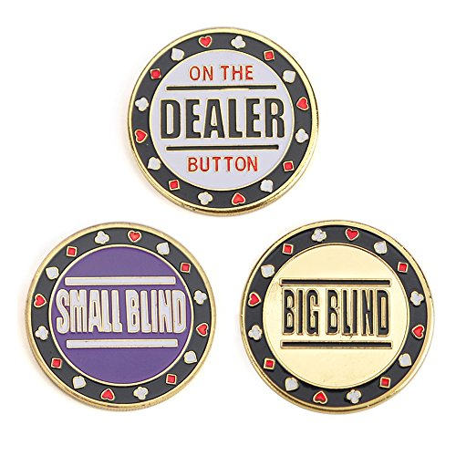 GOGO Set of 3 Metal Chip Poker Buttons - Small Blind, Big Blind and Dealer from GOGO