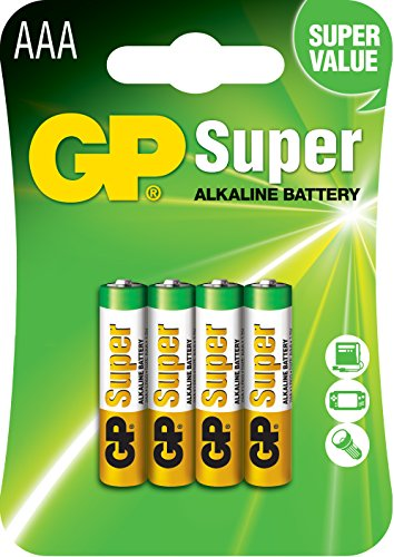 GP Batteries LR03 1.5 V SUPER Alkaline Micro AAA Battery (Pack of 4) from GP