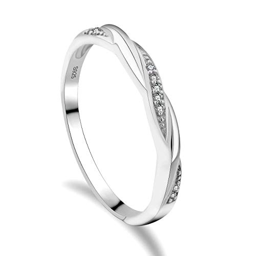 GULICX Skinny 925 Sterling Silver Ring Cubic Zirconia CZ Wedding Promise Eternity Ring Sizes J 1/2, K, L 1/2, N 1/2, O, P, P 1/2, Q, R 1/2, S, T 1/2, U, V, W from GULICX