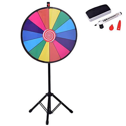 "GYMAX 24"" Color Prize Wheel 14 Slots Dry Erase Tripod Stand Trade Show Fortune Colorful Win Spin Party Pub Game from GYMAX"