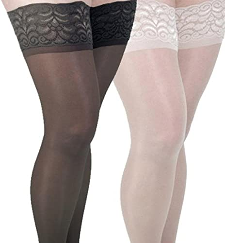 GABRIALLA 20-22 mmHg 2XLarge Nude/Black H-40 Sheer Thigh Highs Compression - Pack of 2 from Gabrialla