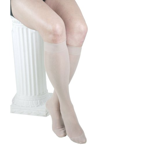 GABRIALLA 20-22 mmHg Large Nude H-160 Sheer Knee Highs Compression - Pack of 3 from Gabrialla