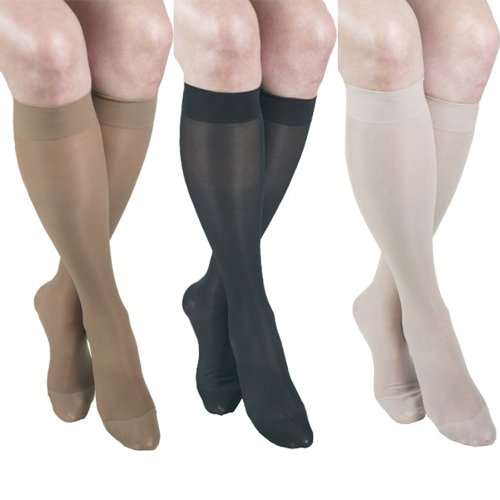 GABRIALLA 20-22 mmHg Medium Beige/Black/Nude H-160 Sheer Knee Highs Compression - Pack of 3 from Gabrialla