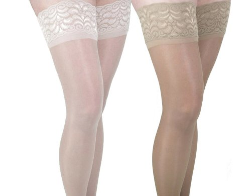 GABRIALLA 20-22 mmHg Medium Beige/Nude H-40 Sheer Thigh Highs Compression - Pack of 2 from Gabrialla