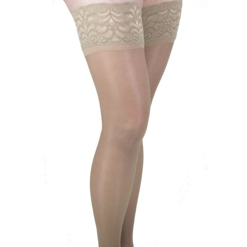 GABRIALLA 20-22 mmHg Medium Beige H-40 Sheer Thigh Highs Compression - Pack of 2 from Gabrialla