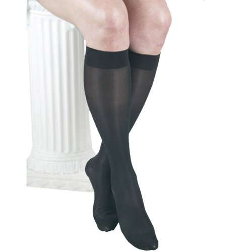 GABRIALLA 20-22 mmHg Medium Black H-160 Sheer Knee Highs Compression - Pack of 3 from Gabrialla