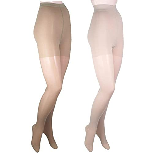 GABRIALLA 20-22 mmHg Petite Beige/Nude H-150 Sheer Pantyhose Compression - Pack of 2 from Gabrialla