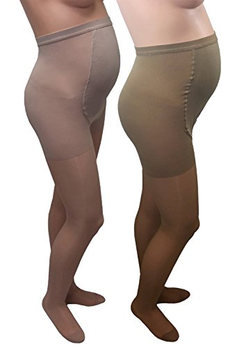 GABRIALLA 20-22 mmHg Queen Beige/Nude H-260 Maternity Pantyhose Compression - Pack of 2 from Gabrialla