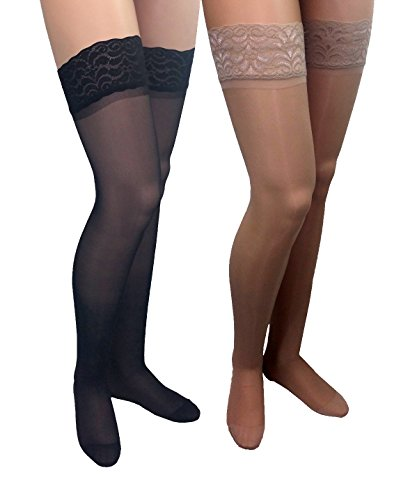 GABRIALLA 23-30 mmHg 2X-Large Black/Nude H-80 Sheer Thigh Highs Compression - Pack of 2 from Gabrialla