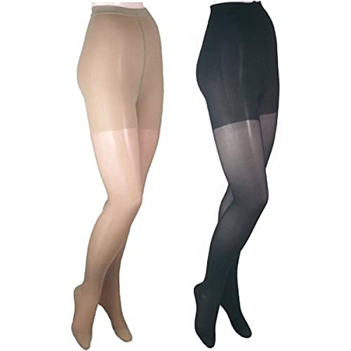 GABRIALLA 23-30 mmHg Medium Beige/Black H-330 Sheer Pantyhose Compression - Pack of 2 from Gabrialla
