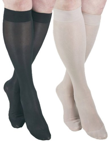 GABRIALLA 23-30 mmHg Medium Nude/Black H-180 Sheer Knee Highs Compression - Pack of 2 from Gabrialla