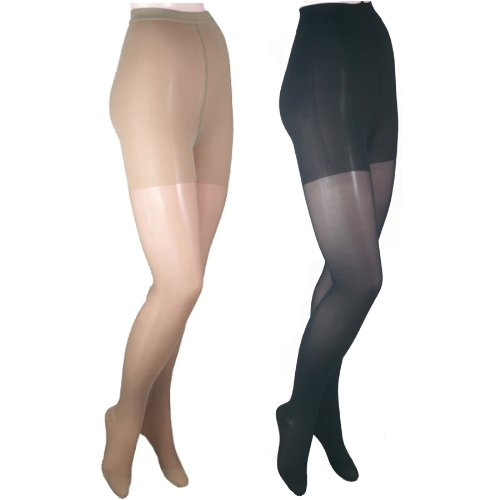 GABRIALLA 23-30 mmHg Petite Beige/Black H-330 Sheer Pantyhose Compression - Pack of 2 from Gabrialla