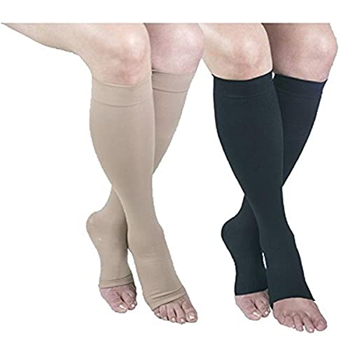 GABRIALLA 25-35 mmHg 2X-Large Beige/Black H-304(O) Microfiber Knee Highs Compression - Pack of 2 from Gabrialla