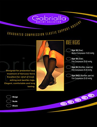 GABRIALLA 25-35 mmHg Large Black H-304(O) Microfiber Knee Highs Compression - Pack of 3 from Gabrialla