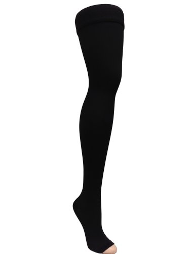 GABRIALLA 25-35 mmHg Medium Black H-306 Open Toe Thigh Highs Compression - Pack of 2 from Gabrialla