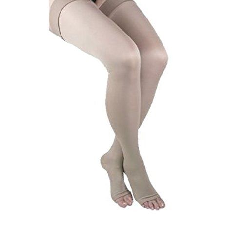 GABRIALLA 25-35 mmHg Small Beige H-306 Open Toe Thigh Highs Compression - Pack of 2 from Gabrialla