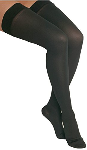 GABRIALLA 25-35 mmHg Small Black H-306 Microfiber Thigh Highs Compression - Pack of 3 from Gabrialla