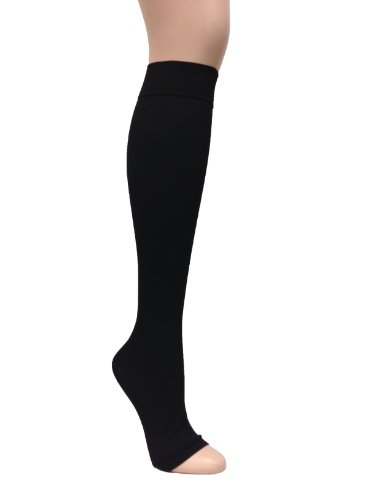 GABRIALLA 25-35 mmHg X-Large Black H-304(O) Microfiber Knee Highs Compression - Pack of 2 from Gabrialla