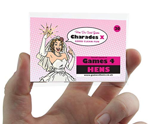 Hen Party Charades classic party game with multi-challenge option wedding & love themed credit-card sized & resealable splash-proof bag from Hannah's Games