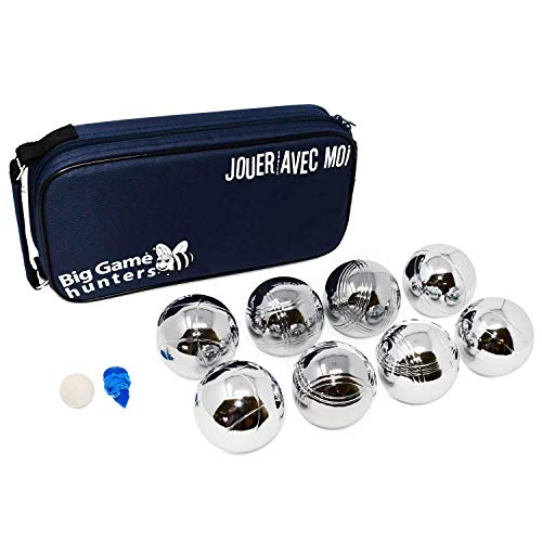 Big Game Hunters 8 Boules Set with Rust-Free Protection Canvas Carry Bag - Durable 8 Petanque Set Polished and Engraved Official Size Bowls from Big Game Hunters