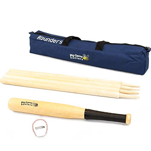 Garden Games Quality Traditional Rounders Set with Ash Bat, Ball and Posts in a Canvas Bag from Garden Games
