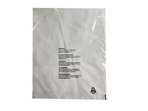 (Pack of 200) 400 x 500 mm, Gran Clothing Garment T-Shirt Bags Clear Protection Display 5 Language Mail Sacks with Child Safety Suffocation Warning Packing Postage ENVELOPES Poly MAILERS from Garment bags