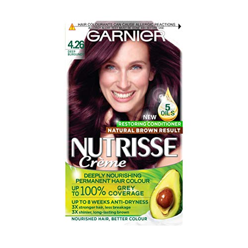 Garnier Nutrisse Brown Hair Dye Permanent, Up to 100 Percent Grey Hair Coverage, with NEW 5 Oils Conditioner - 4.26 Deep Burgundy from Garnier