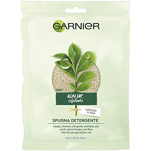 Garnier Organic Konjac Botanical Facial Cleansing Sponge, Natural Vegan Gentle Exfoliating and Deep Cleansing from Garnier
