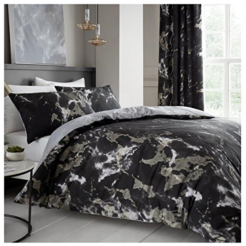 Comfy MARBLE Bed Set with Duvet Cover and Pillow Cases, Polyester-Cotton, Black, Single from Gaveno Cavailia