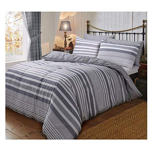 Flannelette Complete Set with Duvet Cover Pillowcase Fitted Sheet New Soft Warm Bedding (Flannel Stripe Grey, Double Complete Set) from Gaveno Cavailia
