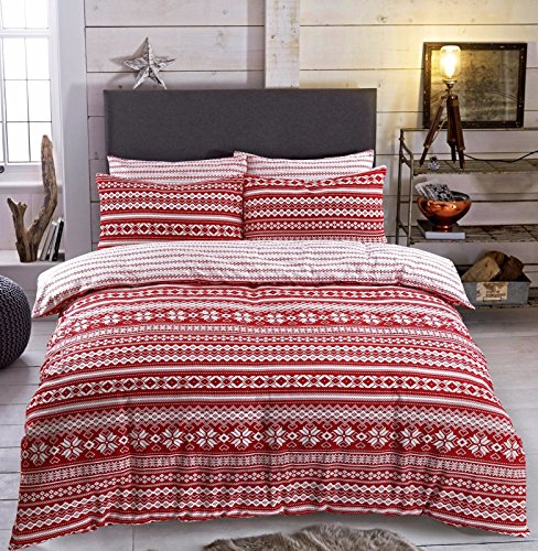 Flannelette Duvet Cover Set with Pillowcase Printed New Soft Warm Bedding (Fairisle Red, Double Duvet Cover Set) from Gaveno Cavailia