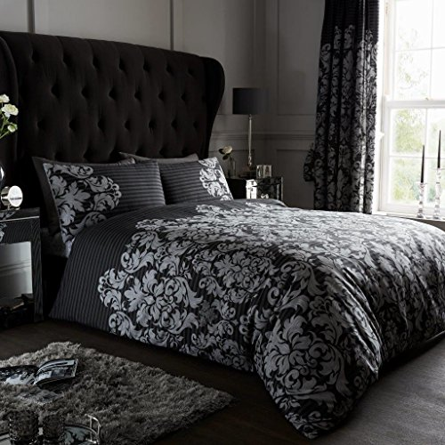 Gaveno Cavailia Luxurious Empire Damask Bed Set with Duvet Cover and Pillow Cases, Polyester-Cotton, Black, Single from GAVENO CAVAILIA