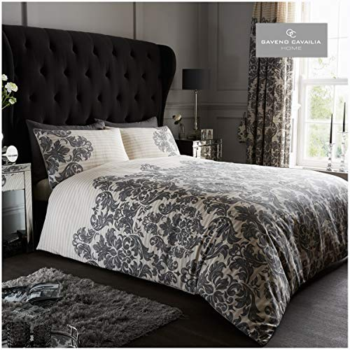 Gaveno Cavailia Luxurious Empire Damask Bed Set with Duvet Cover and Pillow Cases, Polyester-Cotton, Cream, King from GAVENO CAVAILIA