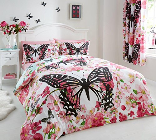 Gaveno Cavailia Luxurious FLORAL BUTTERFLY Bed Set with Duvet Cover and Pillow Case, Polyester-Cotton, Multi, Double from GAVENO CAVAILIA