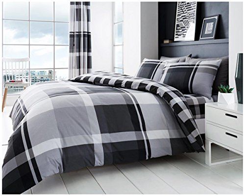 GAVENO CAVAILIA Luxurious Waverly Check Set with Duvet Cover and Pillow Cases, Polyester-Cotton, Grey, King from GAVENO CAVAILIA