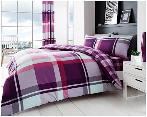 Gaveno Cavailia Luxurious WAVERLY CHECK Bed Set with Duvet Cover and Pillow Case, Polyester-Cotton, Purple, Double from GAVENO CAVAILIA