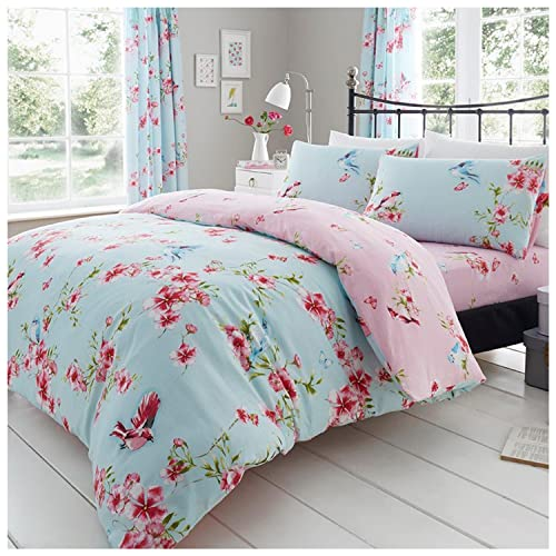 Gaveno Cavailia Luxury BIRDIE BLOSSOM Bed Set with Duvet Cover and Pillow Case, Polyester-Cotton, Blue, Double from GAVENO CAVAILIA