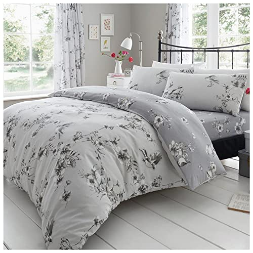 Gaveno Cavailia Luxury BIRDIE BLOSSOM Bed Set with Duvet Cover and Pillow Case, Polyester-Cotton, Grey, Single from Gaveno Cavailia
