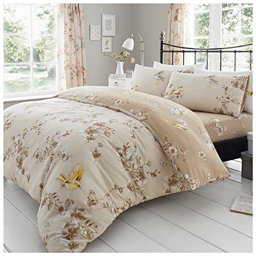 Gaveno Cavailia Luxury BIRDIE BLOSSOM Bed Set with Duvet Cover and Pillow Case, Polyester-Cotton, Natural, Single from GAVENO CAVAILIA