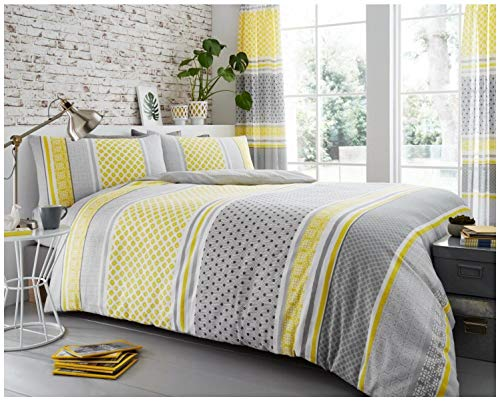 Gaveno Cavailia Luxury CHARTER STRIPE Bed Set with Duvet Cover and Pillow Case, Polyester-Cotton, Mustard, Double from GAVENO CAVAILIA