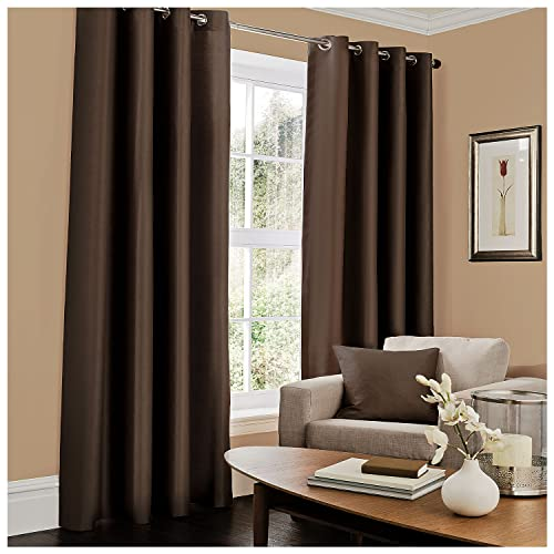 Gaveno Cavailia Luxury Fully Lined Plain FAUX SILK EYELET CURTAINS With Tie Backs Chocolate 66x72 Inches from GAVENO CAVAILIA