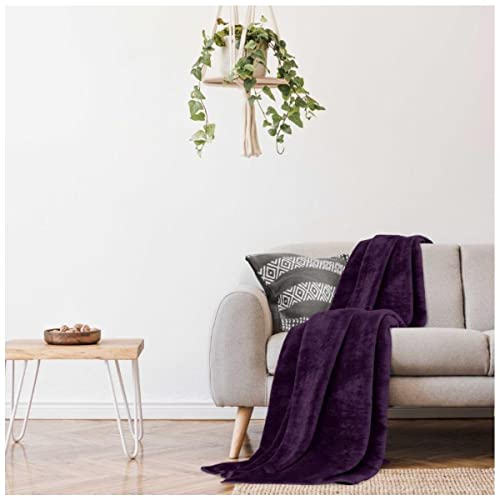 Gaveno Cavailia Super Soft Faux Fur Fleece Plain Throw Blanket, Aubergine, King, 200 x 240 cm from GAVENO CAVAILIA
