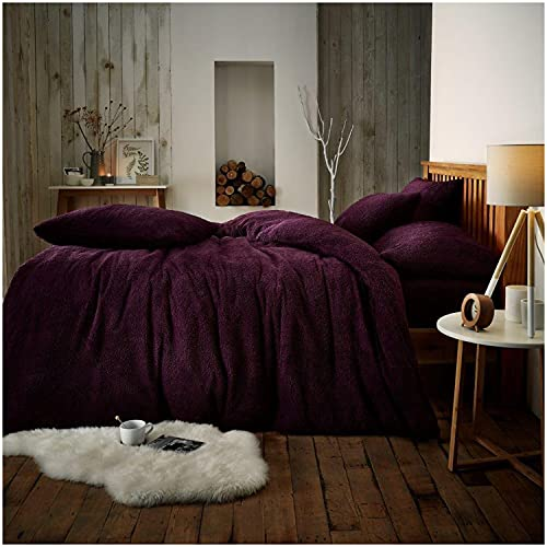 Gaveno Cavailia Teddy Fleece Luxurious Duvet Cover Sets Super Soft Warm and Cosy Bedding Sets (Aubergine, Double Duvet Set) from GAVENO CAVAILIA