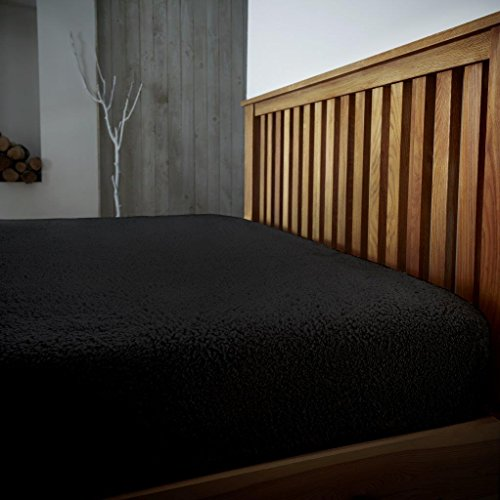 Gaveno Cavailia Teddy Fleece Luxurious Super Soft Warm and Cosy Fitted Bed Sheet (Black, King Matching Fitted Sheet) from Gaveno Cavailia